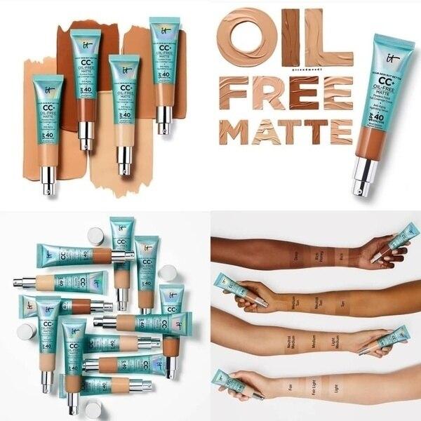 It Cosmetics Concealer Cream Matter Oil-Control Makeup Base Full Cover Dark Circle Eyes SPF 40 Make Up Skin Brighten CC Cream