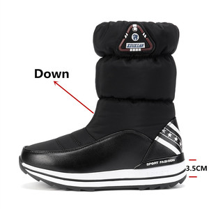 Image 2 - Fedonas最新の女性フラットプラットフォーム冬暖かい雪のブーツ品質防水靴高靴