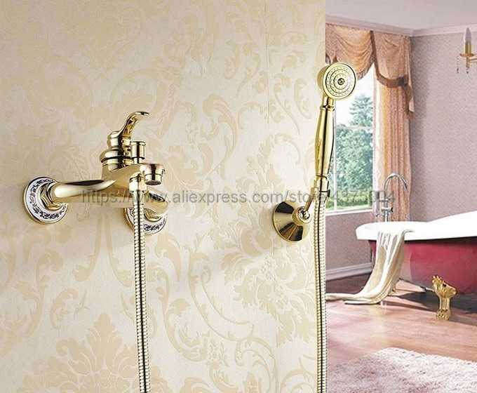 Do montażu na ścianie luksusowe złoty kolor mosiądz bateria do wanny z ręką prysznic łazienka baterie do wanny z prysznicem Ntf403