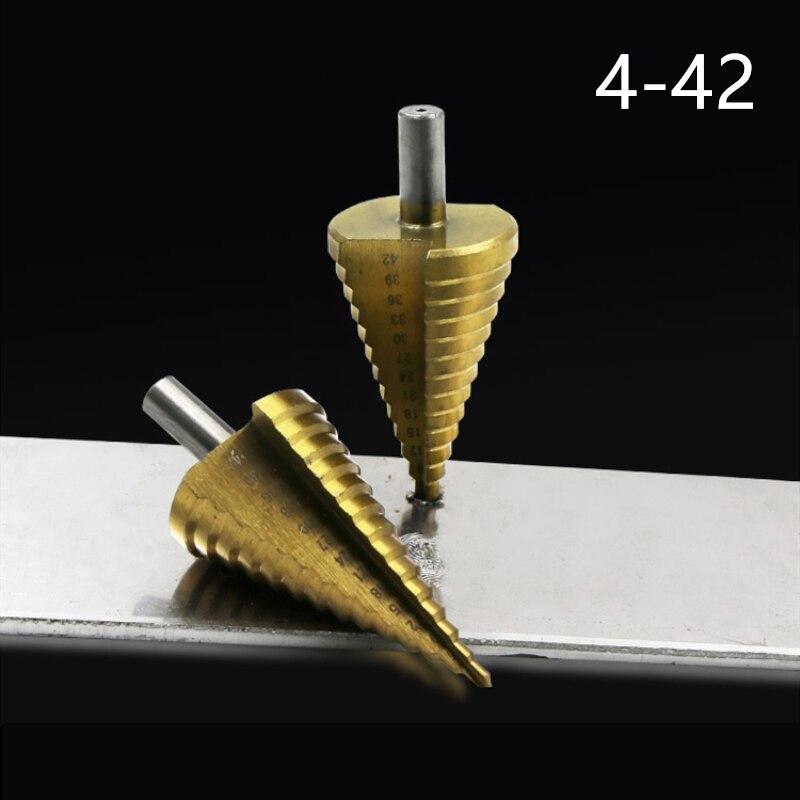 Сверла ступенчатые из быстрорежущей стали, 1 шт., 4-42 мм, 4241 дюйма