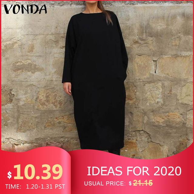 VONDA Women Autumn Long Dress Fashion Round Neck Long Sleeve Shirt Dress 5XL Vestidos Plus Size Robe Femme Women's Tunics 1