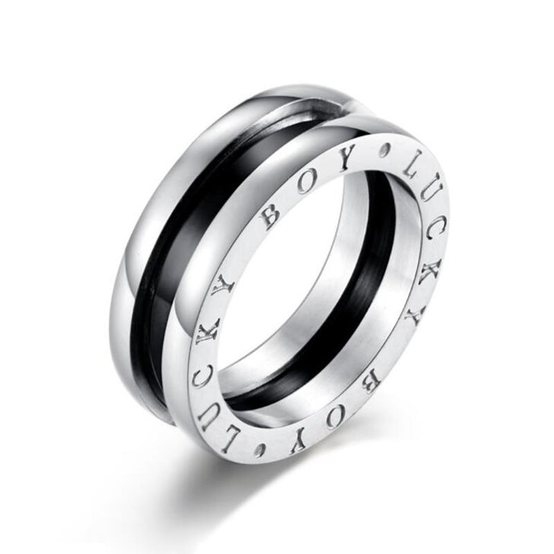 Для мужчин панк Черное кольцо из эмали Кольца из нержавейки Lucky Boy ювелирных изделий c логотипом отличный подарок для друга