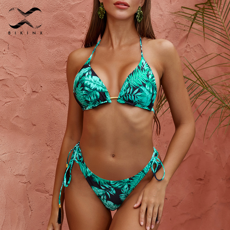 Brazilian Bikini Thong 2020 Leaves Print Bathing Suit Tassel Swimwear Women Sexy Swimsuit Female Push Up Bathers New Biquinis