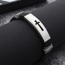 1PC Silicone Buckle Bracelets Bangle Fashion Cool Wristband Jewelry Womens Mens Cross Stainless Steel