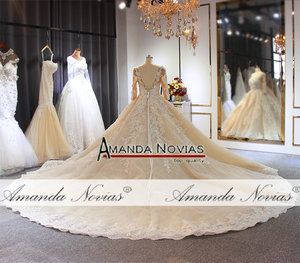 Image 4 - wedding dress 2020 Luxury Champagne Wedding Dress With Long Train Dubai