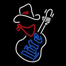 """Миллер Lite ковбойская гитара неоновая вывеска на заказ ручной работы из настоящего стекла трубка Пивной бар KTV мотель магазин музыкальный дисплей неоновые вывески 1"""" X 19"""""""