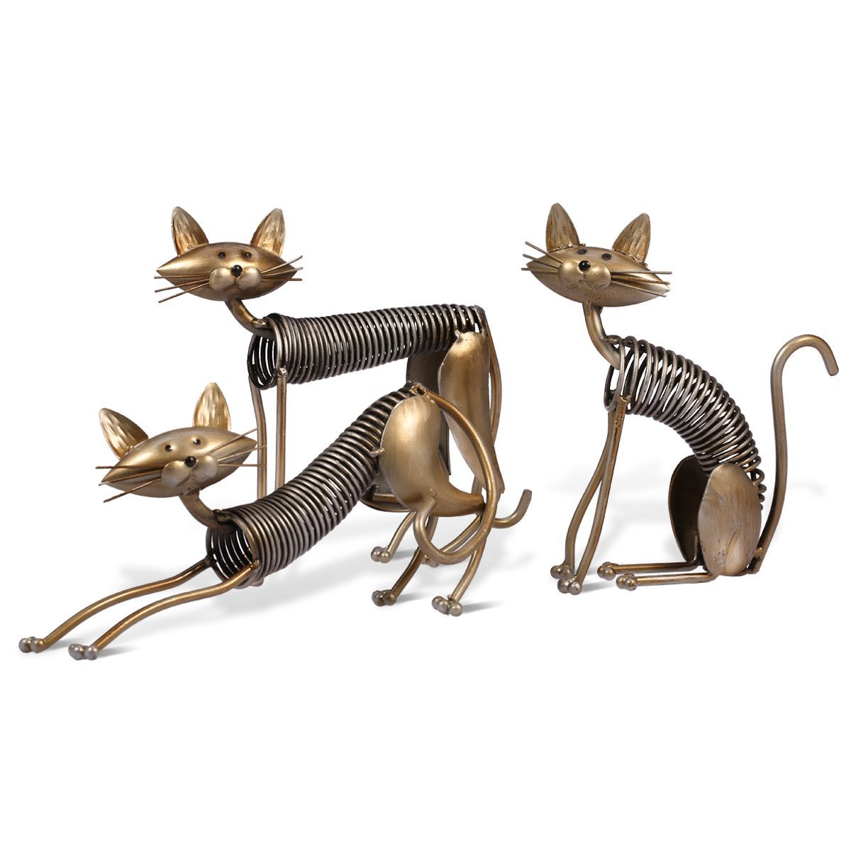 Three Cats Figurines One Set Three Kittens Handmade Metal Sculpture Collection Iron Home Decoration Accessories Creative Gift