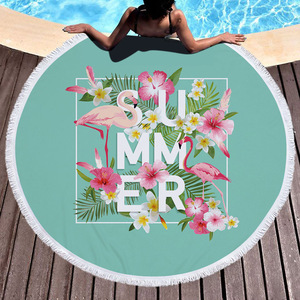 Image 5 - ビーチタオルタッセル花フラミンゴギフトお風呂シャワータオル大人のための 500 グラムマイクロファイバー 150 センチメートルピクニックヨガマット毛布カーペット