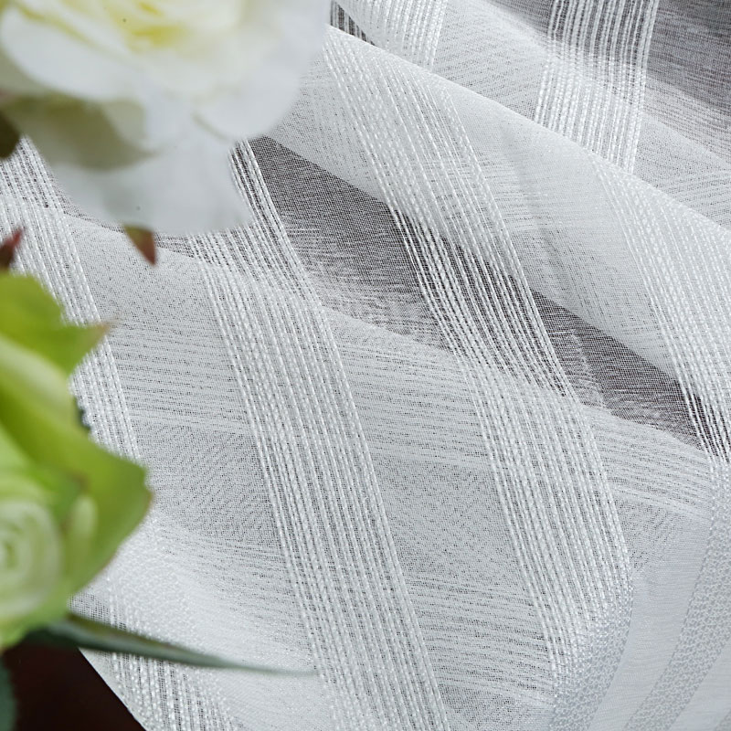 Modern Striped White Color Tulle Sheer Curtain for Bedroom Living room Window Cortina Custom Size Voile Curtains Finished Custom in Curtains from Home Garden