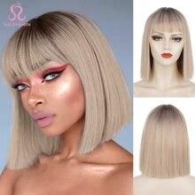 Женские синтетические парики SUe с короткой челкой, изящные короткие, черные, розовые, фиолетовые, красные, для косплея