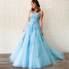 A-line Tulle Spaghetti Strap Prom Dress Boat Neck Floor Length Lace Appliques Backless Evening Party Dress