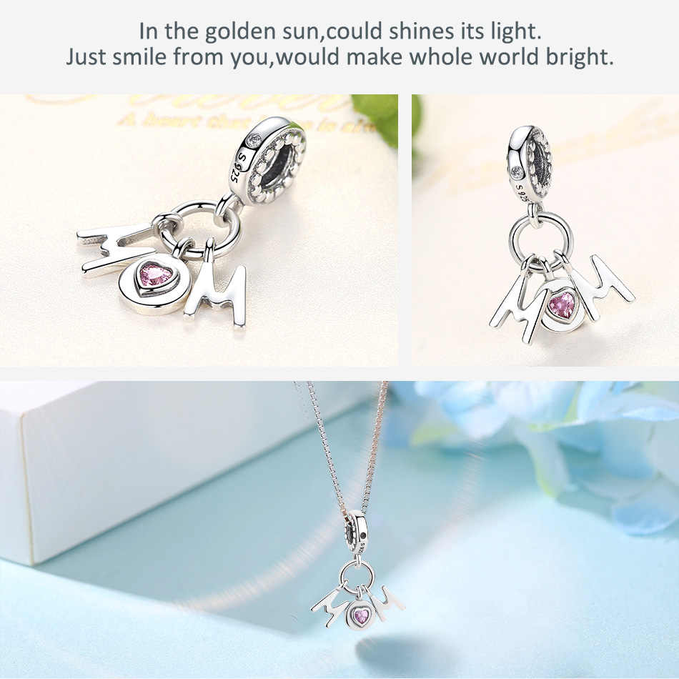 Розовый CZ мама качающаяся подвеска Оригинальный Pandora Подвески Браслеты стерлингового серебра 925 буквы бусины для изготовления ювелирных изделий матери подарки