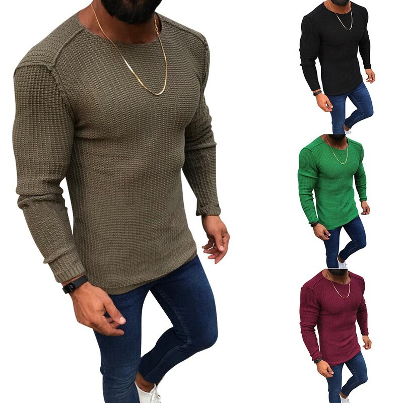 Wenyujh Knitted Sweater Winter Pullover Slim-Fit Long-Sleeve Autumn Male Men's Casual