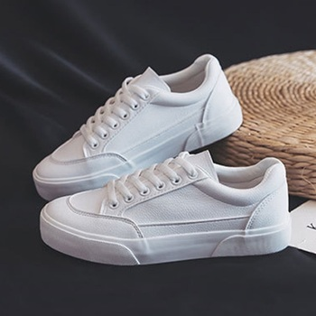 Women White Sneakers Ladies Casual Leather Shoes Woman Lace Up Flats Female New Fashion Comfort Vulcanized Platform Shoes 2020 rasmeup women s platform clunky sneakers 2018 fashion lace up dorky women walking dad shoes casual white woman flats footwear