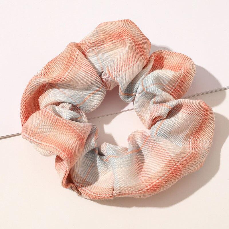 Женские цветочные клетчатые резинки для волос винтажные универсальные