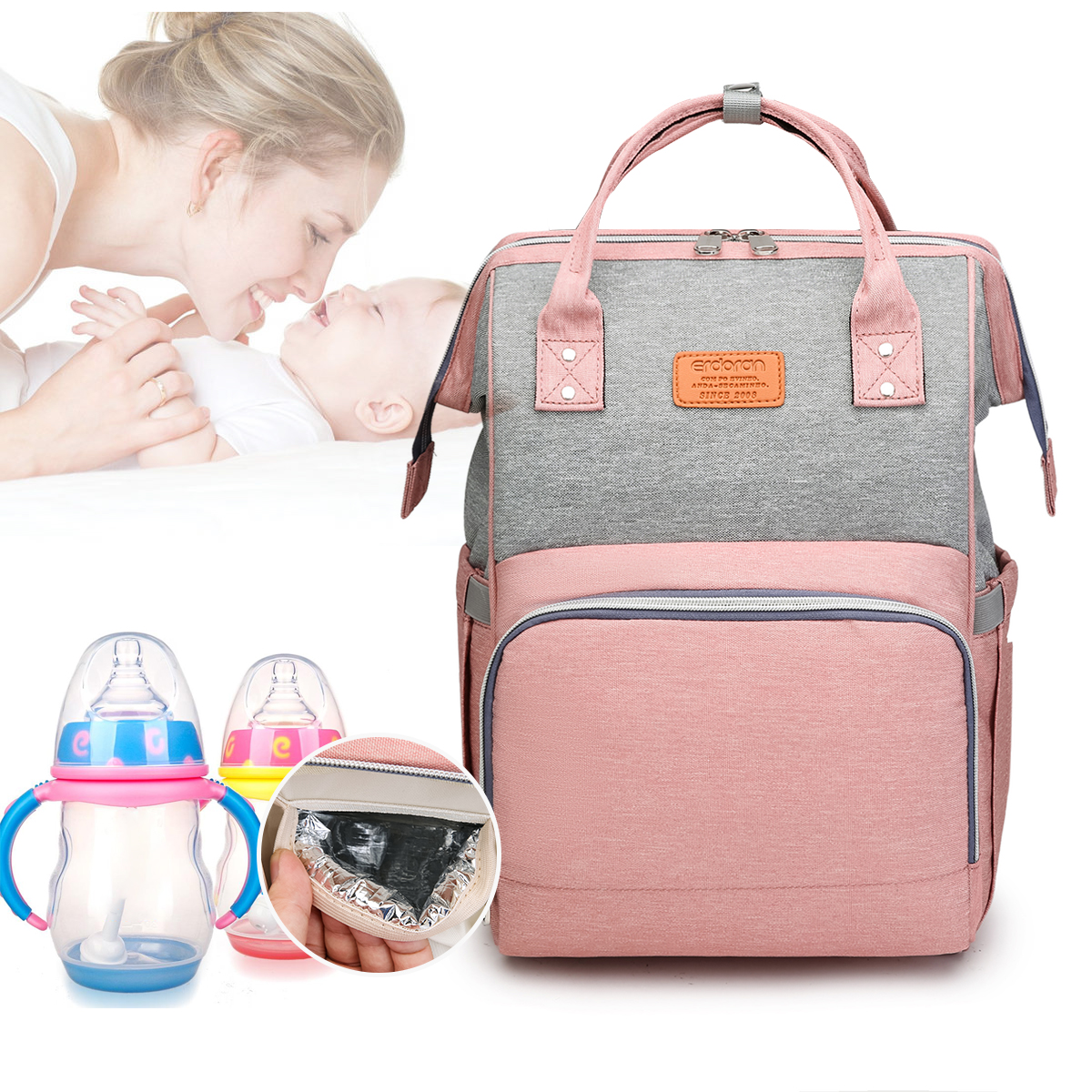 Patchwork Mommy Bag Baby Diaper Bag Waterproof Baby Mummy Changing Bag Nappy Bag