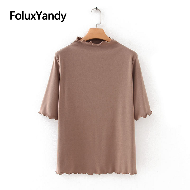 Ruffles Tops Half Sleeve T-shirts Women Casual Plus Size Solid Spring Autumn Tops Tees KKFY4312
