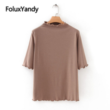 Ruffles Tops Half Sleeve T-shirts Women Casual Plus Size Solid Spring Autumn