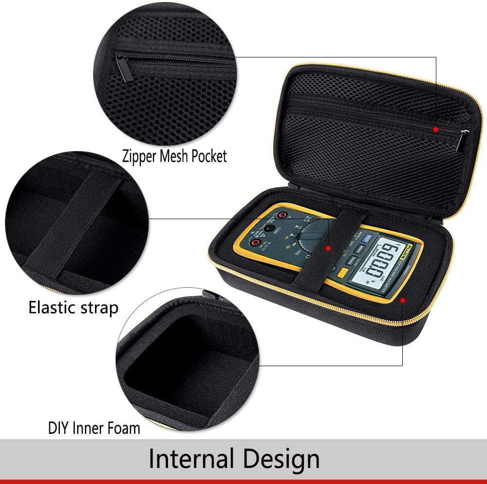 Portable Multimeter Storage Case,Multimeter Carrying Case,Waterproof Shockproof,Hard Shell Exterior and Mesh Pocket Holds Cables Storage Box Organizer for Fluke 117//115