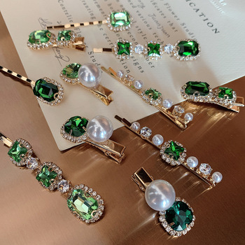 New Vintage Green Elegant Rhinestone Pearl Hairpins Women Girls Hair Clips Pins Barrette Accessories Hairgrip Headdress Headwear stylish rhinestone faux pearl starfish hairgrip for women