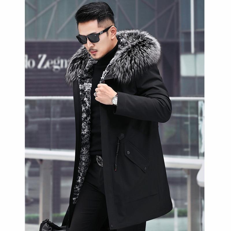 Mink Coat Raccoon Collar Winter Jacket Men Real Fur Parka Plus Size Casaco 5-1905 YY1160