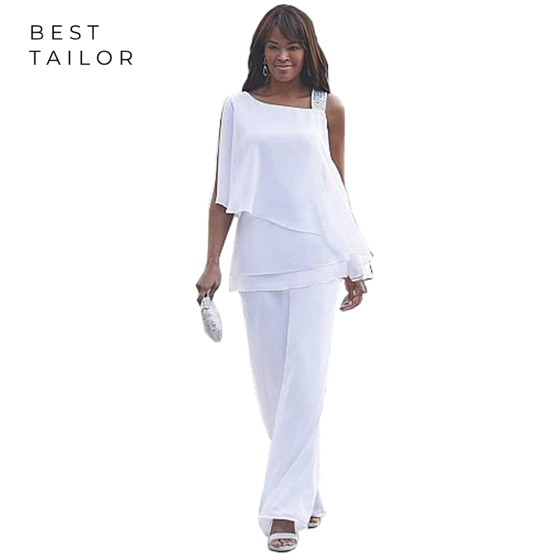 Mother Of The Bride Dresses White For Weddings 2 Pieces Pant Suits One Shoulder Simple Women Africa Farsali Vestido De Madrinha
