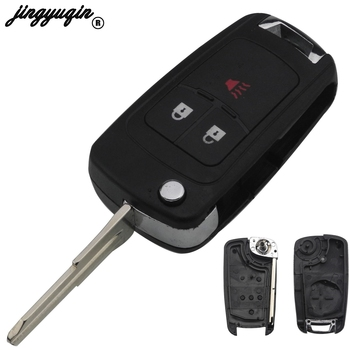 jingyuqin 10pcs/lot Folding For CHEVROLET Cruze Spark Flip Remote Key Fob 3 Buttons Remote Key Case Shell key shell
