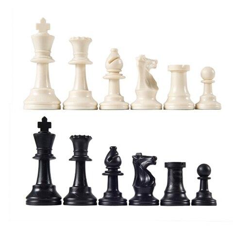 Peças de Xadrez Jogo de Xadrez Preto e Branco Medievais Plástico Completo Xadrez Internacional Palavra Entretenimento 64mm 32 – Mod. 311345