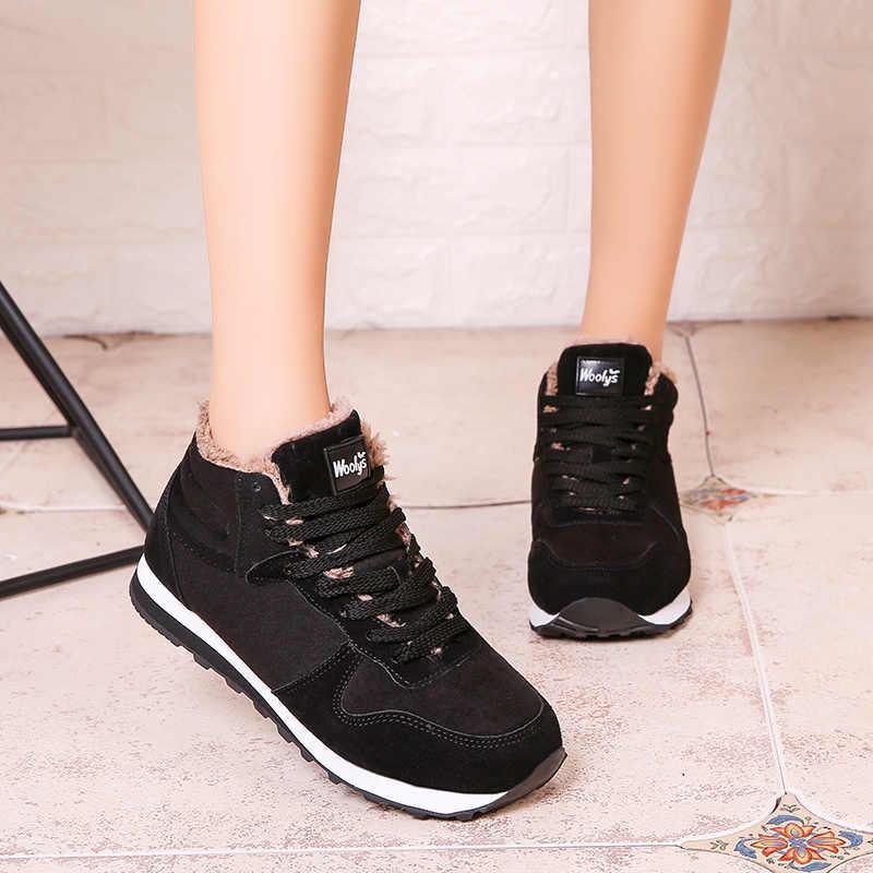 2019 Vrouwen Laarzen Winter Sneeuw Lace-Up Suede Ankle Sneakers antislip vrouwen schoenen Werken schoenen Gevulkaniseerd schoenen