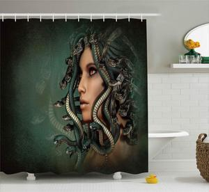 Занавеска для душа, занавеска для ванной, бандаж для волос в виде змеи для женщин, медуза, ОРГОН, змеи на голове, темно-зеленый, декор для ванн...