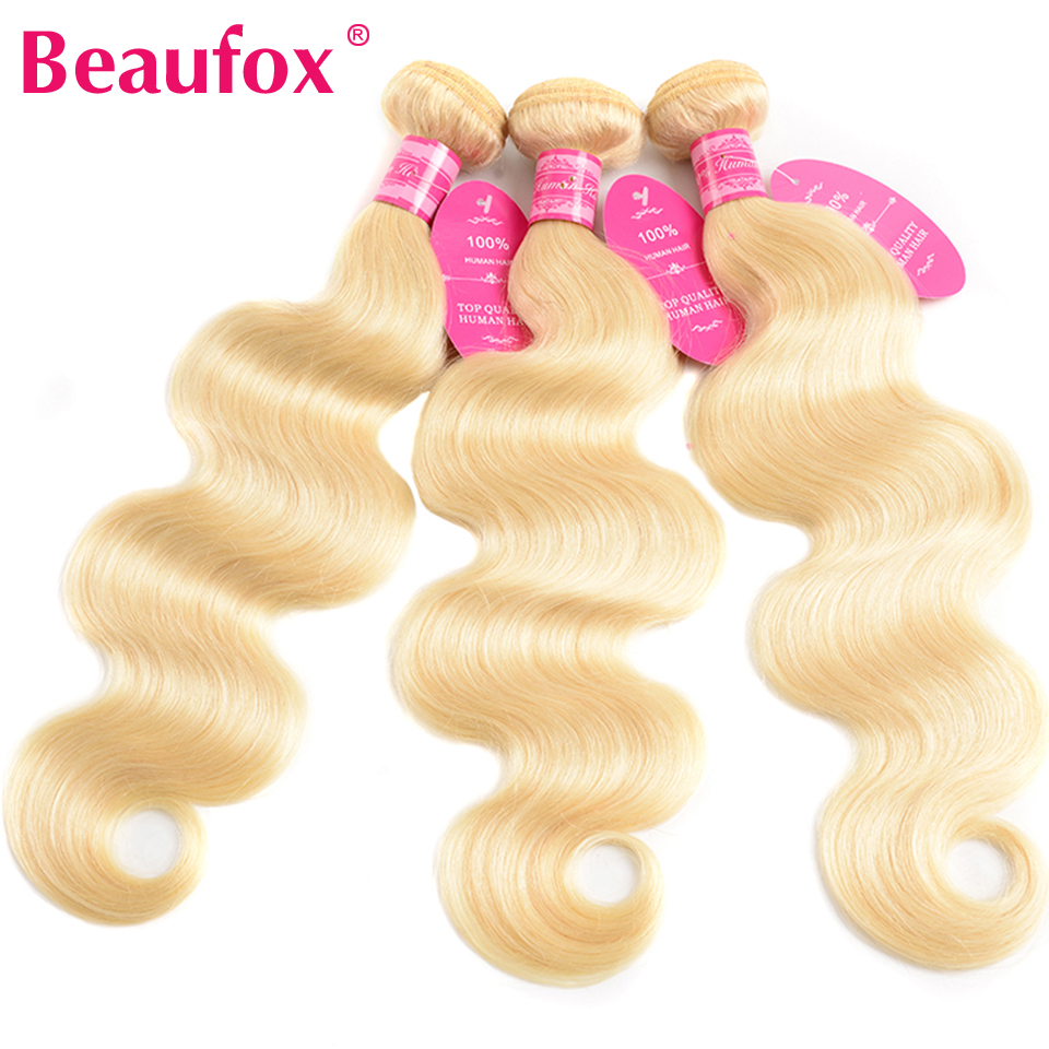 H6aca34f1c69d440fb0287f7ee06823dfT Beaufox 613 Blonde Bundles With Frontal Brazilian Body Wave With Frontal Remy Blonde Human Hair Lace Frontal Closure With Bundle