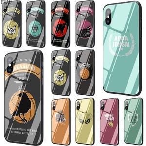 EWAU HAIKYUU!! Karasuno Nekoma Crest Tempered Glass phone case for iphone SE 2020 5 5s SE 6 6s 7 8 plus X XR XS 11 pro Max