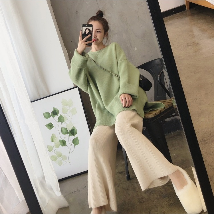 2019 Autumn And Winter New Goddess Fan Suit Lazy Wind Sweater Loose Casual Knit Wide Leg Pants Two Sets Of Women