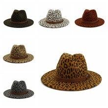 Nowy Trend w modzie Unisex płaskie rondo wełny czuł Jazz kapelusze mężczyźni kobiety Leopard skóra licowa zespół Decor Panama formalne kapelusze