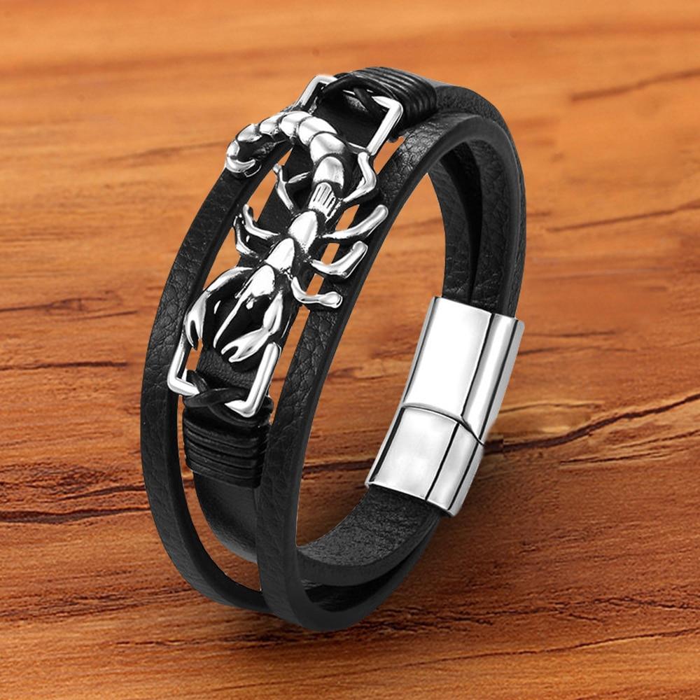 Handmade Charm Punk Rope Metal Stainless Steel Genuine Leather Men Bracelets Animal Shrimp Magnetic Clasp Black Jewelry