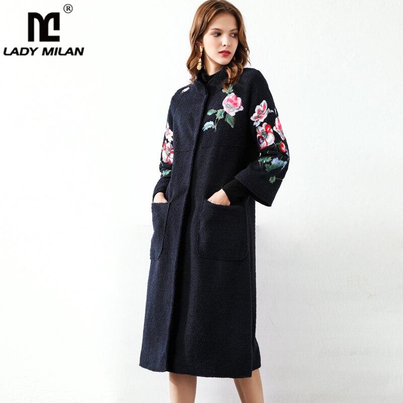 Manteaux de piste pour femmes col montant manches longues broderie mode florale élégant manteau en laine vêtements d'extérieur Parkas