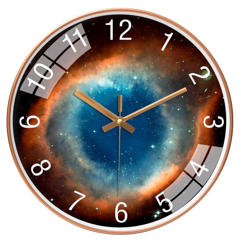 Black Wall Clock Mechanism Nordic Wall Clocks Home Decor Living Room Bedroom Star Space Galaxy Fantasy Horloge Murale Gift FZ046