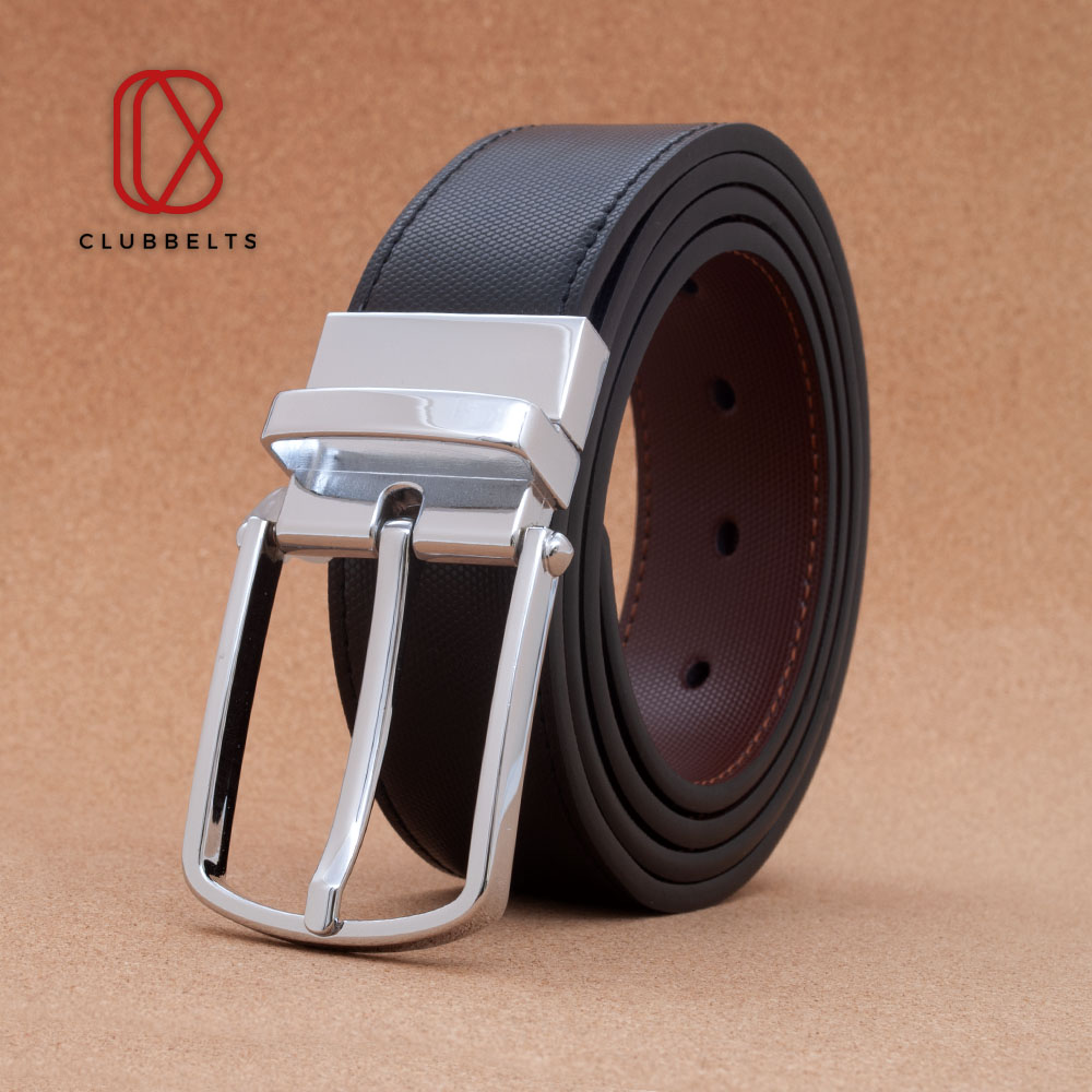 Clubbelts Men's Leather Reversible Belt With Silver Single Prong Buckle, Dress Casual Belt For Mens