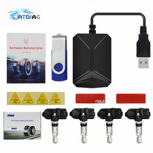 USB TPMS Android Car Tire Pressure Monitor with 4 External Sensors 116 psi Monitoring Alarm System 5V Wireless Transmission TPMS