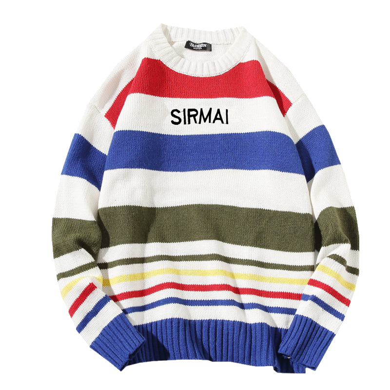 Men X-mas Sweater Autumn Winter Long Sleeve Round Neck Color Strip Pullover Knit Sweaters Pull Homme 5XL 4XL M
