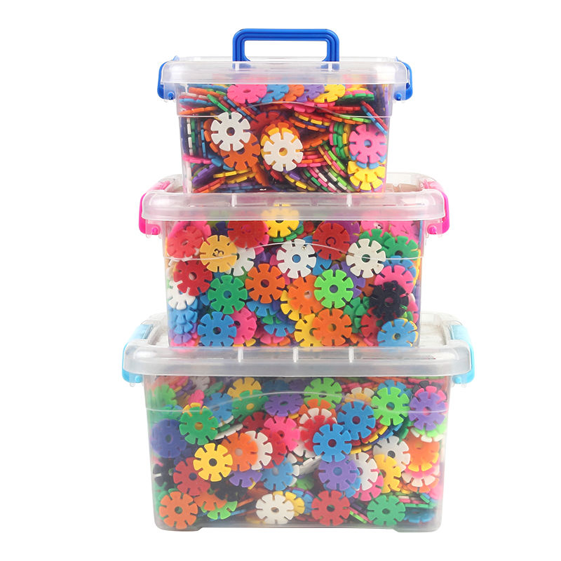 1200pcs Children 3D Puzzle Plastic Snowflake Interconnecting Blocks Building Construction Toys Kindergarten Baby Game Toy