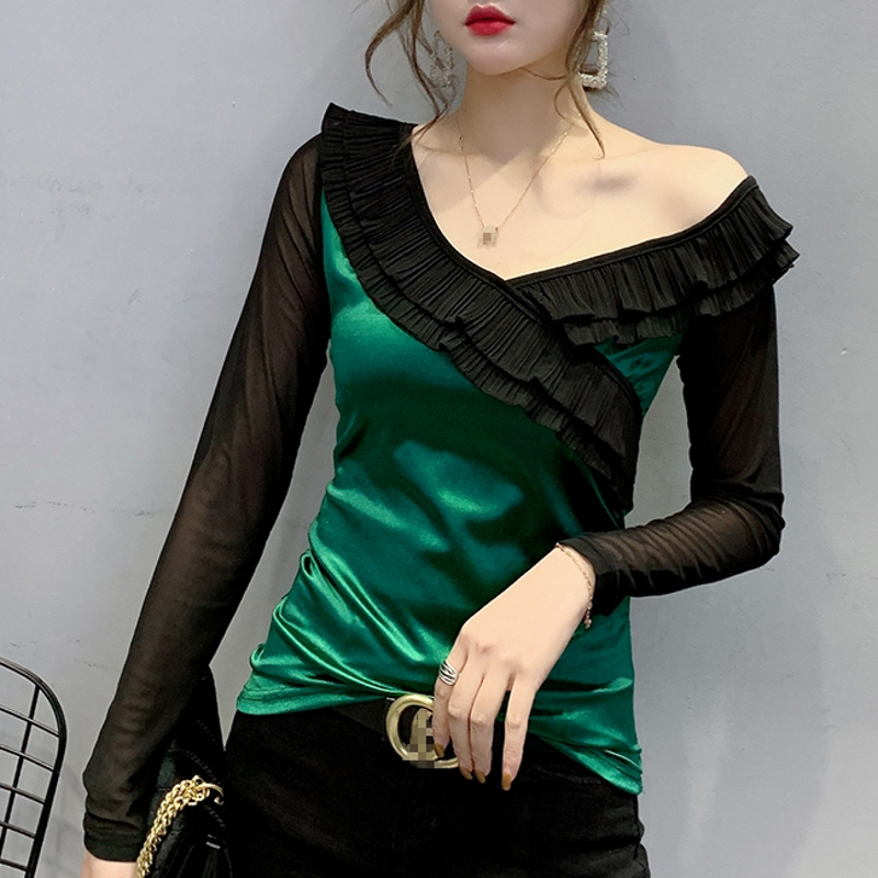 2020 New Spring Autumn Korean Clothes Sexy Patchwork Mesh Ruffles T-shirt Women Tops Ropa Mujer Bottoming Shirt Slim Tees T9D008