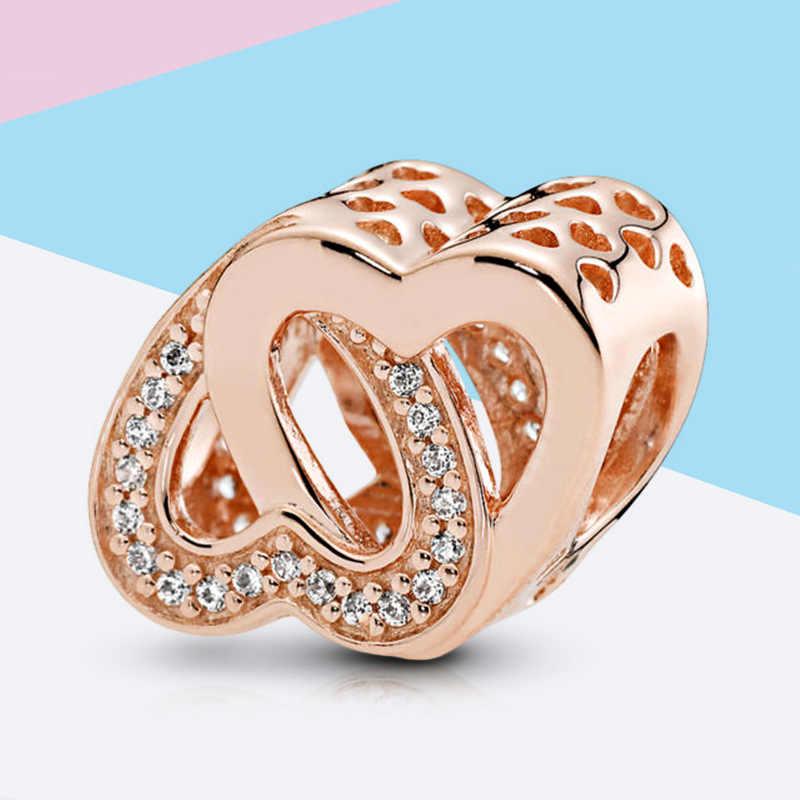 925 ayar gümüş yay dolaşık kalpler anne boncuk kolye Spacer klip takılar gül altın Fit Pandora bilezik kadınlar DIY takı