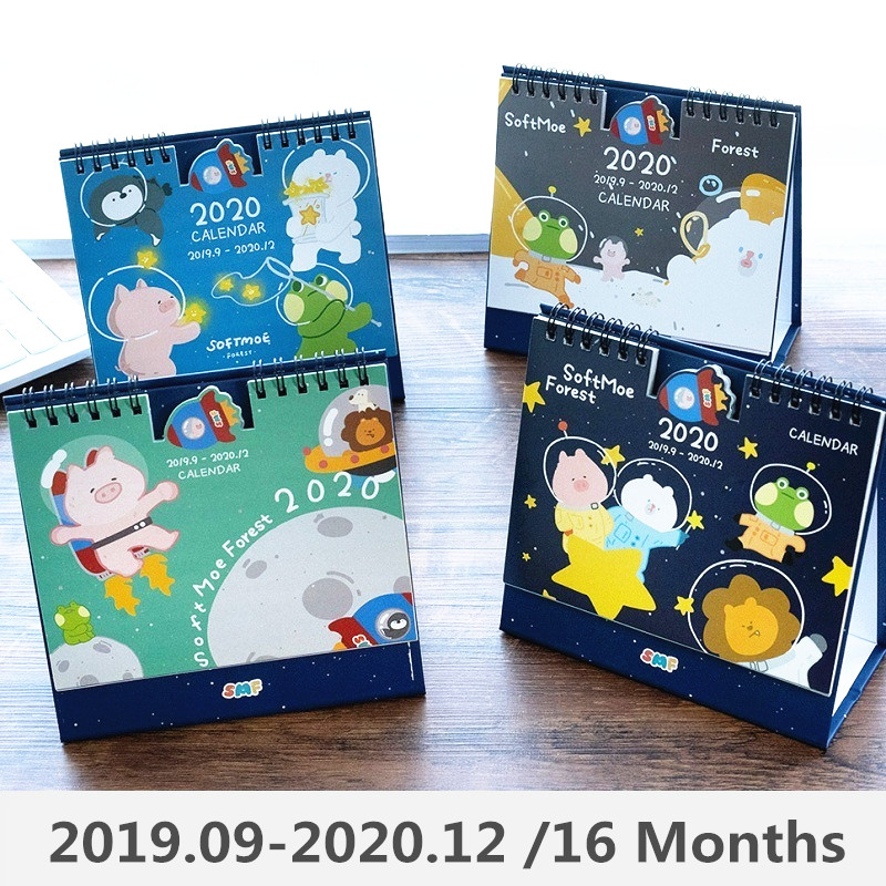 2020 Year Space Animals Series Calendar Cartoon Pig Bear Desk Calendar Daily Schedule Planner 2019.09-2020.12