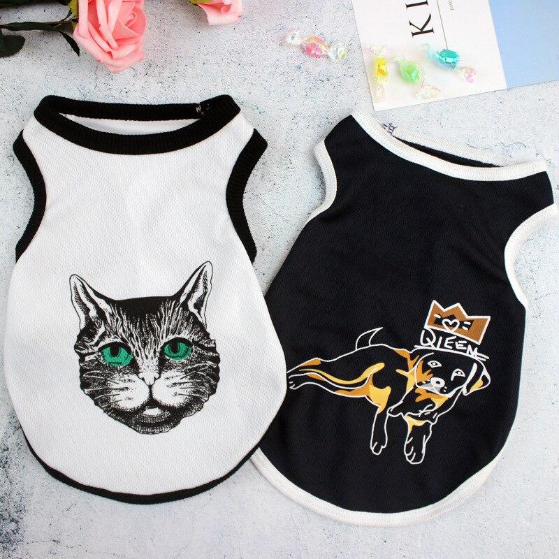 작은 옷 애완 동물 고양이 조끼 귀여운 고양이 고양이 의상 강아지 인쇄 검은 색 T 셔츠 여름 얇은 조끼 애완 동물 의류 Ropa Perro OO50BX