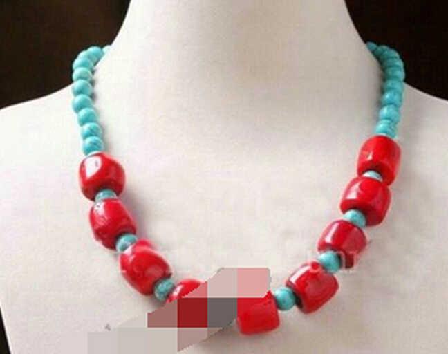 + + + 906 beau corail rouge turquoise perles en vrac collier fait main