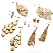 6 Pairs/Sets Vintage Gold Color Leaves Long Tassel Simulated Pearl Stud Earrings Set For Women New Brincos Jewelry(China)