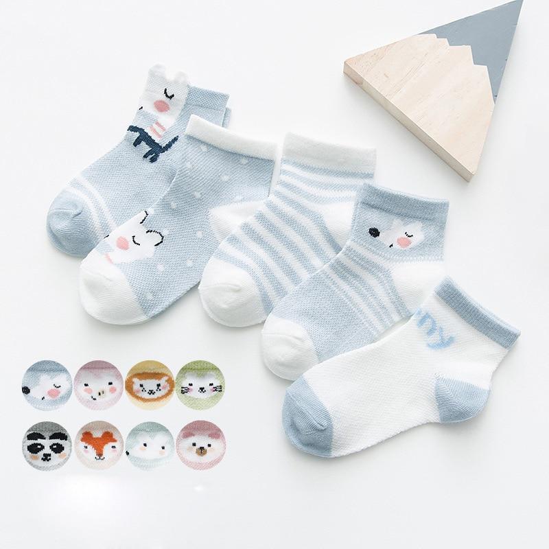 Baby Lotus 2019 New 5 Pairs/Lot Cartoon Cotton Socks Baby Boy Girl Newborn Infant Toddler Kids Warm Soft Breathable Short Socks