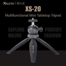 Xiletu XS 20 mini mesa tripé suporte do telefone desktop com clipe e bola cabeça para smartphone dslr câmera