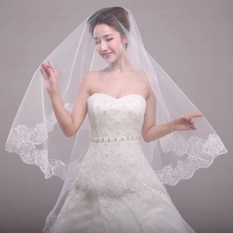 Cheaper Veil Wedding Veil No Comb Wedding Accessories Lace Bridal Veil Soft Tulle  Veil 003